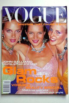 Glam Rocks Kate Moss Dec 1994 VOGUE British by superthreads, £22.95