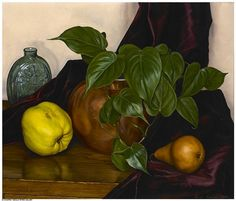 Still Life (1948) by Luigi Lucioni (b. Giuseppe Luigi Carlo Benevenuto Lucioni, November 4, 1900; Malnate, Italy – d. July 22, 1988) Oil on canvas, Unframed: 15 ¼ × 18 ¼ inches Framed: 22 ¾ × 25 ⅝ inches in reproduction frame | Gerald Peters Gallery NY on artnet https://en.wikipedia.org/wiki/Luigi_Lucioni