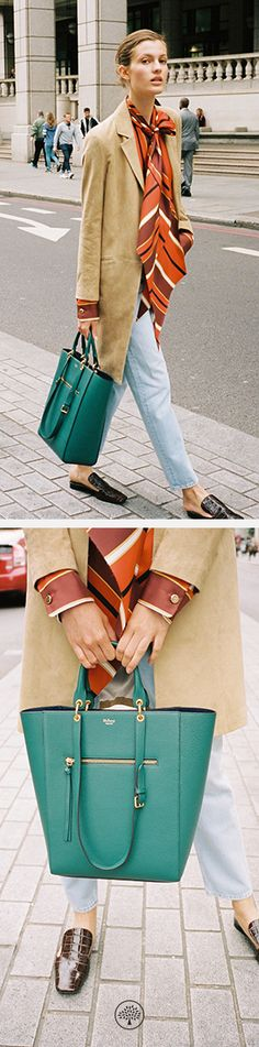 Maple Bag in Ocean Green Leather, Adelaide Blouse in Orange Twill and the Palace Flat Mule Shoes in Dark Brown Leather at Mulberry.com.