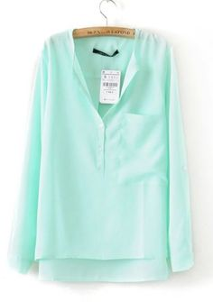 Turquoise Collarless Dipped Hem Long Sleeve Blouse with Front Pocket pictures