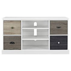 Ameriwood Home Newbridge White 50 in. TV Console with Multicolored Door Fronts, White/Multicoloured Open Shelving, Storage Shelves, Storage Spaces, Locker Storage, Dvd Shelves, Shelf, Dvd Storage, Media Storage, Storage Ideas