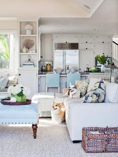 Pretty blue fabric unites this kitchen and living room beautifully!