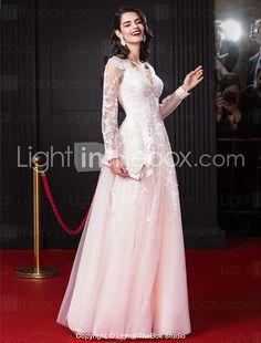 ts couture® noche formal del vestido de una línea V-cuello palabra de longitud gasa / tul con aplicaciones / cordón 2016 - $90838