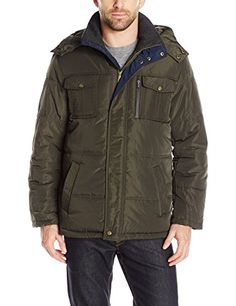 c47db4ac4cf London Fog Men s Wide Tubular Quilt Parka with Detachable Hood at Amazon Men s  Clothing store
