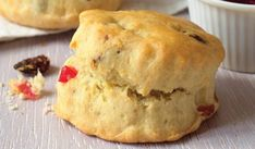 Delightful fruit scones from Mary Berry. This recipe for special fruit scones, packed with colourful mixed fruit, is kept moist with a tea towel after baking. Mary Berry Fruit Scones, Mary Berry Desserts, Dessert Recipes, Scone Recipes, Scones Recipe Uk, Baking Recipes Uk, Uk Recipes, Meal Recipes, Baking Ideas