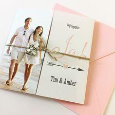 Tweeluik trouwkaart met eigen foto roze | Trouwkaart | Trouwkaarten | Trouwkaartje | Trouwkaartjes | Kaart | Uitnodiging | DIY |