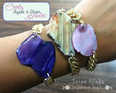 DIY Chunky Agate and Chain Bracelet Tutorial from Loose Ends (Shipwreck Beads blog - has links to buy materials)