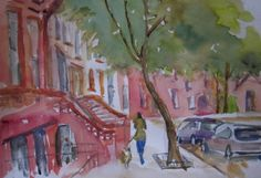 "Carol Montgomery Fort Greene, Brooklyn Watercolor on Paper 15"" x 20""  ""I Am Woman"" Exhibit at Clover's Fine Art Gallery. Open to the public. Tues - Fri 8:00am - 6:00 pm Sat - Sun Noon - 5pm 718.625.2121"