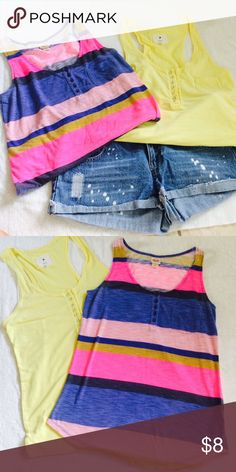 💖 Bundle Alert 💖 Boyfriend Button Front Tanks Mossimo and Forever 21 boyfriend style, button front tank tops. Mossimo tank top is in bright and fun colors of blue, pink, and tan. Forever 21 tank is a beautiful canary yellow with a racerback style. Both feature a small accent pocket on the front right side. Perfect for wearing with a cute pair of jean shorts for summer! Forever 21 Tops Tank Tops