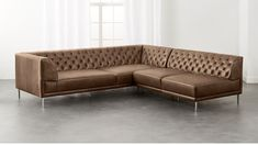 Savile Dark Saddle Brown Leather Tufted Sectional Sofa   CB2 #LeatherSectionalSofas