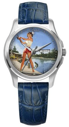 Swiss made automatic watches with one-of-a-kind dial, created in lacquered miniature technique — painting on gold or silver leaf. Girl with a rod collection, stainless steel case, 40 mm, day and date indication, sapphire crystal, genuine leather strap with folding clasp #swissmadewatches #uniquegift #originalgift #giftwithpersonalisation #rod #fishing #automaticwatches #handpainted #art #pinupgirl Swiss Made Watches, Automatic Watch, Stainless Steel Case, Pin Up Girls, Unique Gifts, Sapphire, Miniature, Fishing, Hand Painted
