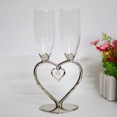 Heart shape crystal wedding toasting champagne flutes for bride and groom silver metal wine goblet lovers gifts wine glasses Wedding Toasts, Wine Goblets, Champagne Flutes, Crystal Wedding, Wine Gifts, Gift For Lover, Heart Shapes, Groom, Silver Metal