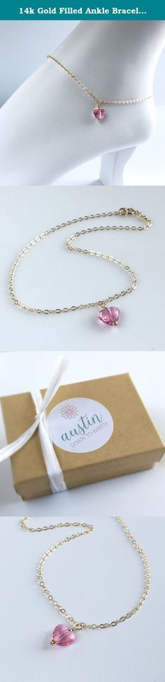 14k Gold Filled Ankle Bracelet, Delicate Gold Anklet, Swarovski Crystal Pink Heart Ankle Bracelet. **14k Gold Filled Ankle Bracelet with a Pink Crystal Heart** This ankle bracelet is made with 14k gold filled chain and a small pink Swarovski crystal heart. This anklet has an extender allowing for up to 1 inch of adjustment. This is a wonderful anklet for a special occasion or everyday wear. Also available in sterling silver. This anklet comes in a box ready for gift giving.