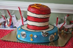 Dr. Seus:  Cat in the Hat cake for a birthday party.
