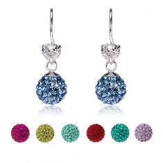Fülbevaló 925 ezüstből, átlátszó szív, csillogó golyó Preciosa kristályokkal Crochet Earrings, Drop Earrings, Jewelry, Fashion, Moda, Jewlery, Jewerly, Fashion Styles, Schmuck