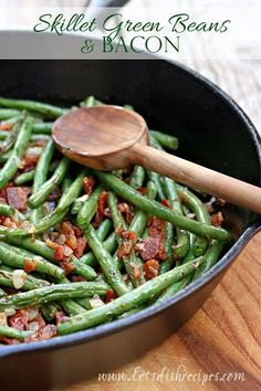 Skillet Green Beans with Bacon: Green beans are sauteed until crisp-tender, then combined with crispy bacon in this classic vegetable side dish.