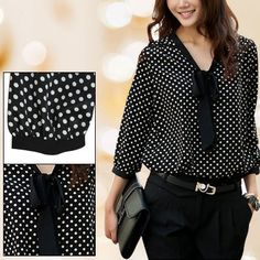 Autumn Black White Dots Chiffon Semi Sheer Blouse s for Women   eBay
