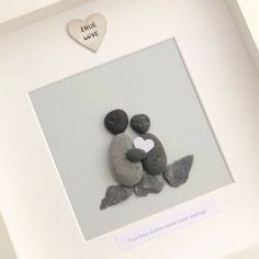 True Love Stories never have endings - Pebble Picture - Pebble Art Anniversary Picture True Love Stories Never - True Love Stories, Love Story, Rock Crafts, Crafts To Make, Art Pierre, White Box Frame, Anniversary Pictures, Pebble Pictures, Love Frames
