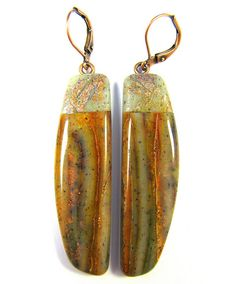 Faux Brandy Opal Polymer Clay Earrings, via Flickr.