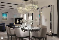 Dom w Bydgoszczy - Średnia otwarta jadalnia w salonie, styl glamour - zdjęcie od KCDESIGN