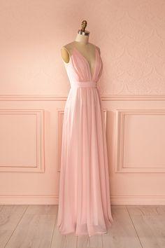 Mitalia - Light pink veil plunging neckline gown