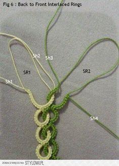 Step by step tutorial on how to make under & over Interlaced Rings using 4 shutt… - Tatting Crochet Flowers, Crochet Lace, Crochet Stitches, Crochet Patterns, Needle Tatting, Tatting Lace, Crochet Bracelet, Crochet Earrings, Lace Bracelet