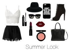 """Summer Look ☀️"" by cathou-look on Polyvore featuring mode, Twin-Set, Lime Crime, Smashbox, Armani Beauty, Marc Jacobs, River Island, Maison Michel et Yves Saint Laurent"