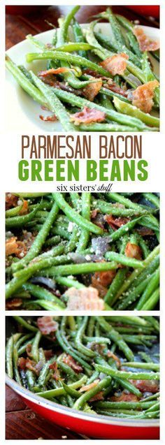 Parmesan Bacon Green Beans recipe from SixSistersStuff.com | This is a great twist on vegetables and the perfect side to serve with your Christmas feast!