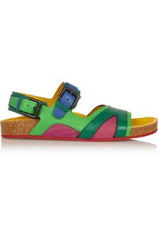 Burberry Prorsum Color-block textured-leather sandals  | NET-A-PORTER