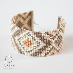 IDÉE CADEAU NOËL Bracelet tissé en perles miyuki / Perles argentées en plaquées Argent 925 / gris, cuivre, écru : Bracelet par tadaam-bijoux