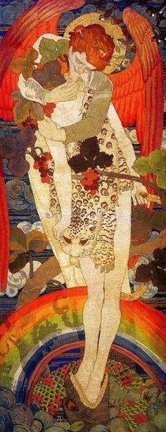 The Progress of the Soul, panel Four : The Victory, 1902 by Phoebe Anna Traquair (1852-1936) embroidered textile  Angel. Wings. Love. Serpent. Kiss. Rainbow.
