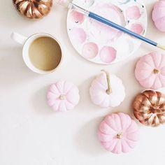 Pink and copper pumpkins.