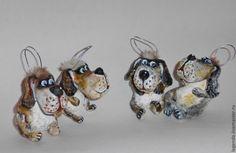 Купить Пёсики. Елочные игрушки из папье-маше в интернет магазине на Ярмарке Мастеров