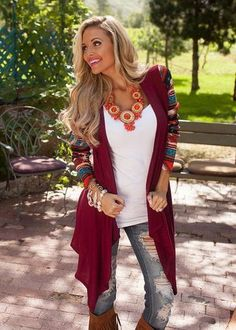 A Touch of Fall Burgundy Cardigan - www.thechicfind.com