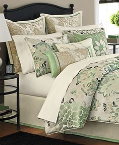 CLOSEOUT! Martha Stewart Collection Jade Flowers 9 Piece Comforter Sets