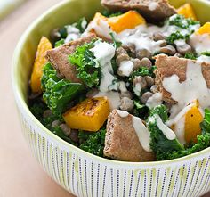 butternut squash, lentil & kale salad with tahini dressing from oh my veggies