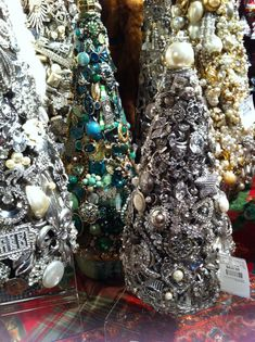 Christmas trees made from vintage jewelry and rhinestones.