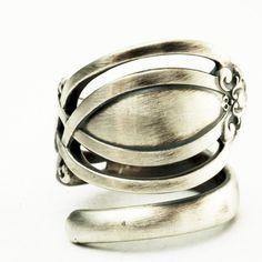 Vintage Victorian Pierced Sterling Silver Spoon Ring by Spoonier, $53.00
