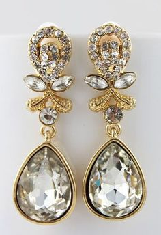 White Gemstone Gold Drop Earrings