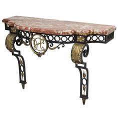 Lfvv Frech Wrought Iron and Marble Console Table | From a unique collection of antique and modern console tables at https://www.1stdibs.com/furniture/tables/console-tables/