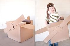 Airplane: Small Fry has step-by-step instructions on how to make your own cardboard airplane.  Source: Small Fry