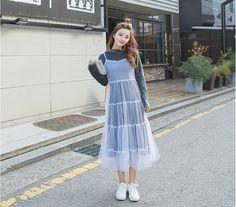 Korean Cute Fashion Style Two-Piece Of Bodycon Velvet Dress And Loose Shoulder-Straps Mesh Dress Casual Women Midi Dress