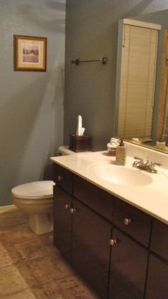 Espresso beans by behr we painted our lightly stained oak cabinets in our home this color by for How to update a bathroom without renovating