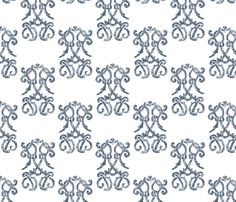 Indigo Damask fabric by christiem on Spoonflower - custom fabric