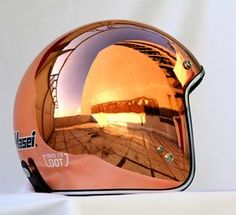 copper motorcycle helmet - plating bobber motot c. Open Face Motorcycle Helmets, Motorcycle Style, Motorcycle Accessories, Women Motorcycle, Sr500, Vintage Helmet, Helmet Paint, Cool Motorcycles, Motorcycle Helmets