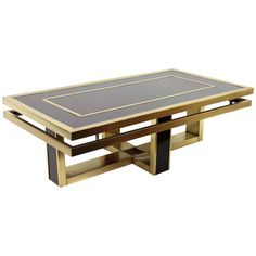 Italian 1960s Brown Glass and Brass Coffee Table in the Style of Romeo Rega | www.1stdibs.com