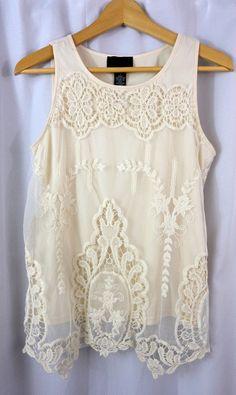 CYNTHIA ROWLEY Women's cute lace ANTHROPOLOGIE sleeveless SHIRT TOP Sz S small #CynthiaRowley #sleeveless 2 Piece Wedding Dress, Wedding Dresses, Cynthia Rowley, Sleeveless Shirt, Anthropologie, Lace, Top, Shirts, Clothes