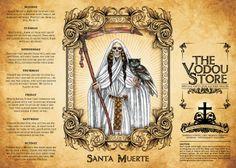 14-Day Candle Label - Santa Muerte (White)