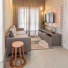 Sala pequena decorada: 70 inspirações e ideias para você! Tiny Living Rooms, Home Living Room, Living Room Decor, Living Room Tv Unit Designs, Modern Apartment Decor, Cozy Room, Deco Design, Home Decor, Ideas