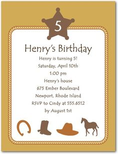 Country Corral - Studio Basics: Birthday Party Invitations in Marigold Cowboy Party Invitations, Unique Invitations, Birthday Party Invitations, Birthday Parties, Invites, Birthday Ideas, Make Your Own Stickers, Western Parties, Free Cards